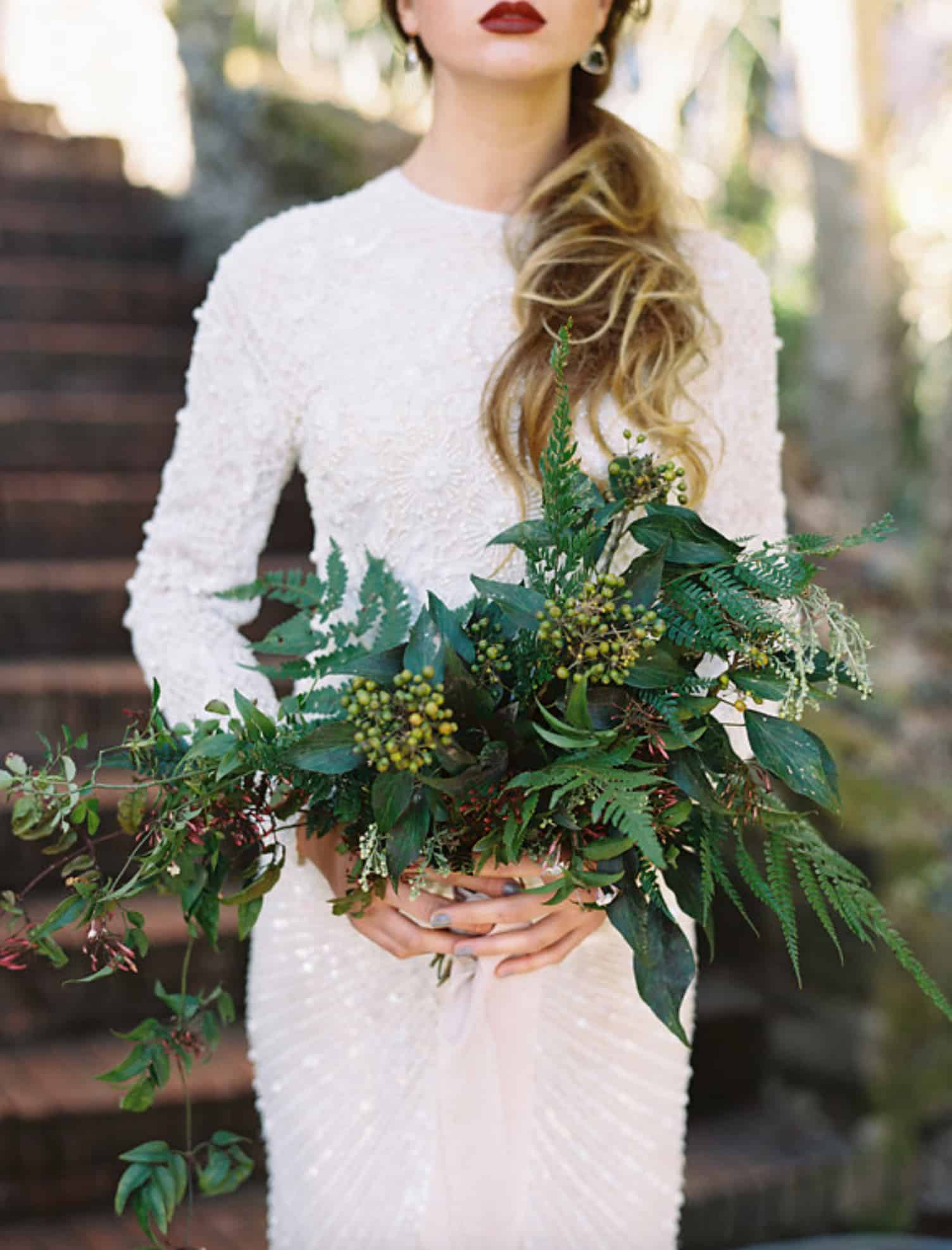Greenery Wedding Bouquet Floral Leaf Wedding Inspiration