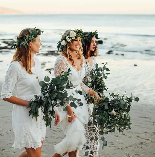 Organic Weddings Greenery Wedding Inspiration Bridesmaid Dresses
