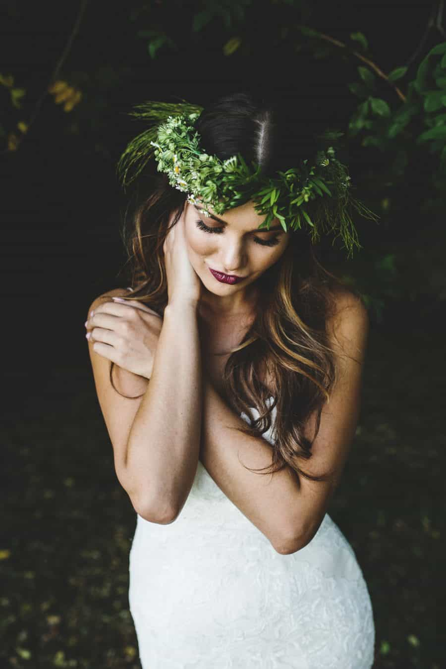 Greenery Crown Wedding Floral Leaf Crown Wedding Headpiece