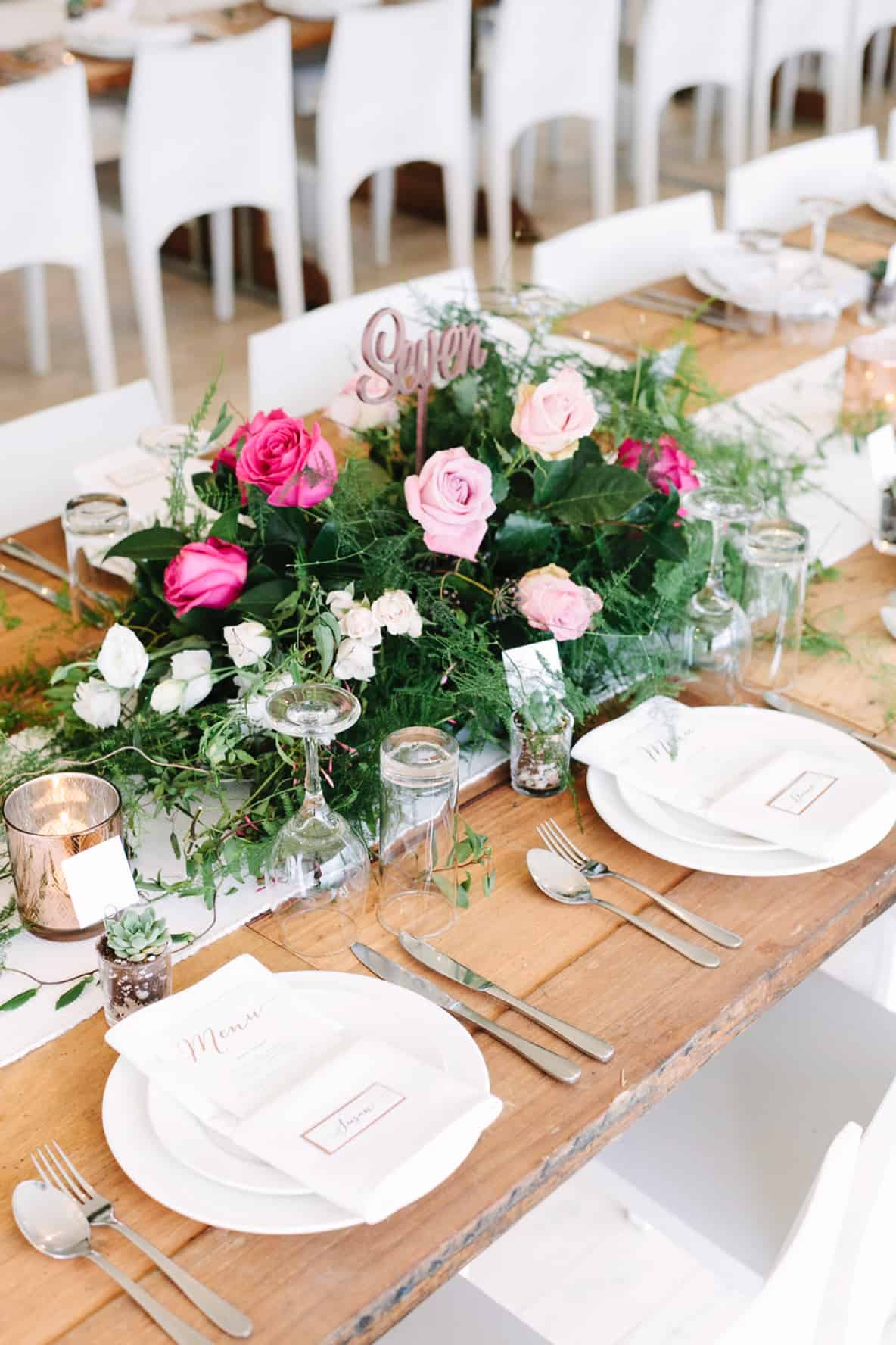 Wedding Floral Pink Roses Centrepieces Wedding Inspiration