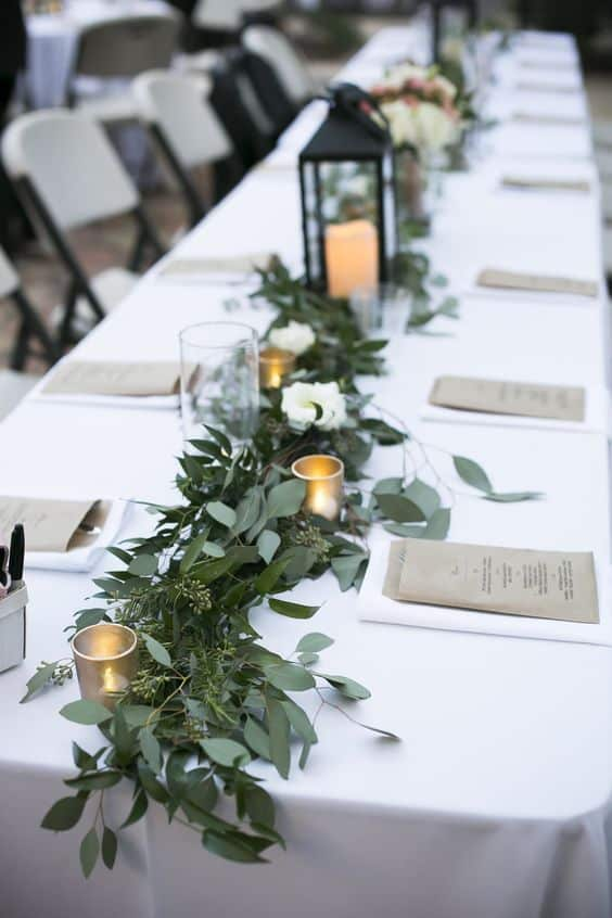 Greenery Wedding Decor Greenery Table Runner Stehlik Photography
