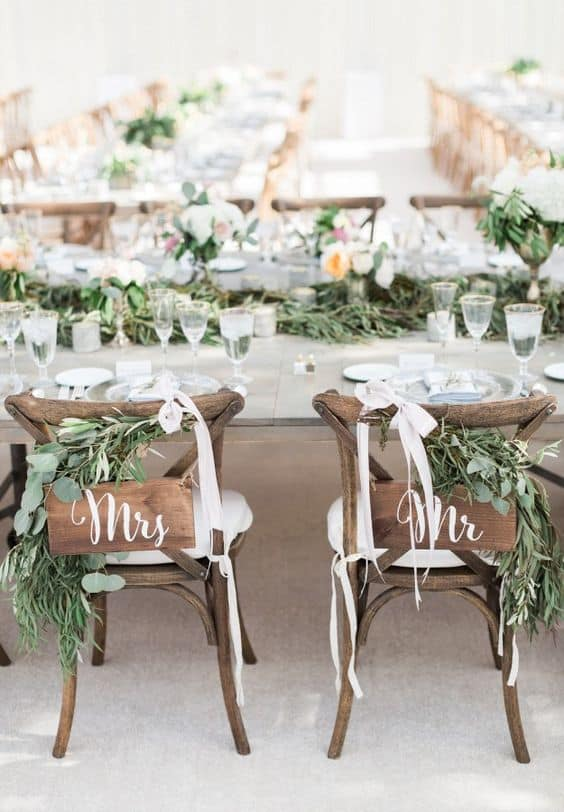 Greenery Wedding Mr & Mrs Signs Blaine Siesser Photography