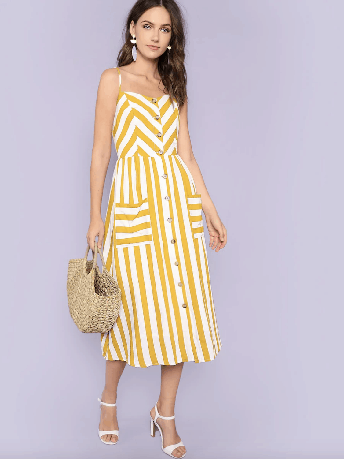 Amalfi Coast Outfits Positano Italy Dresses Button Through Shirred Back Pocket Striped Cami Dress 2