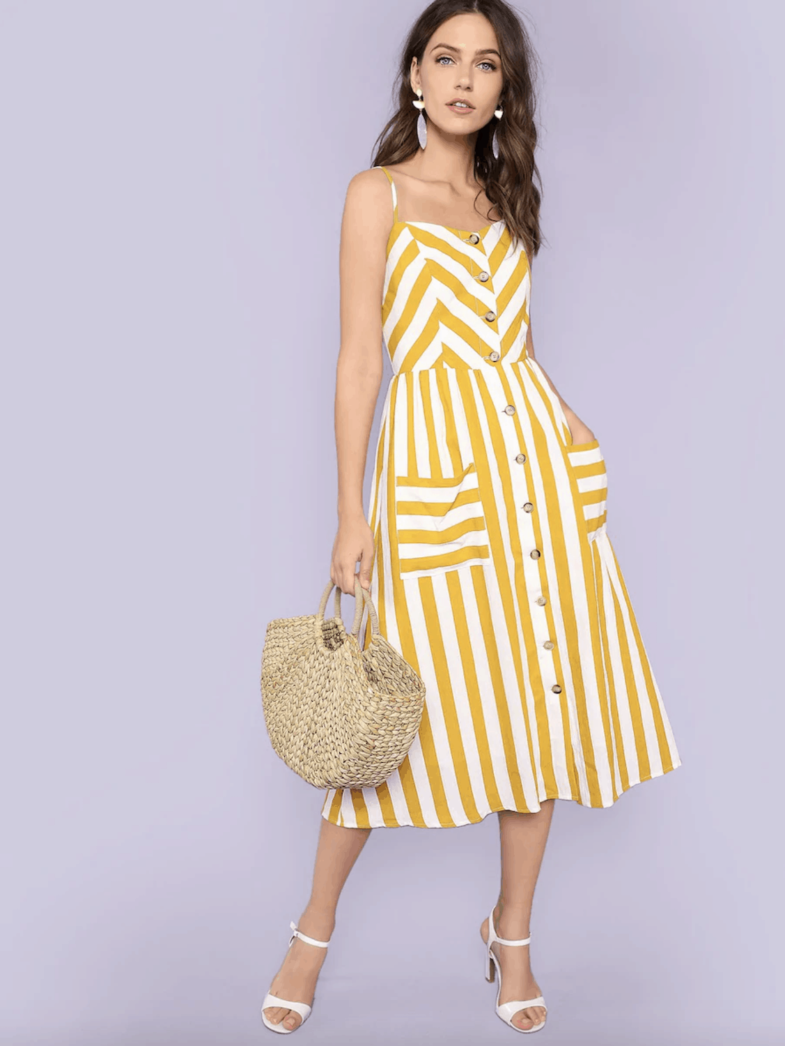 Amalfi Coast Outfits Positano Italy Dresses Button Through Shirred Back Pocket Striped Cami Dress