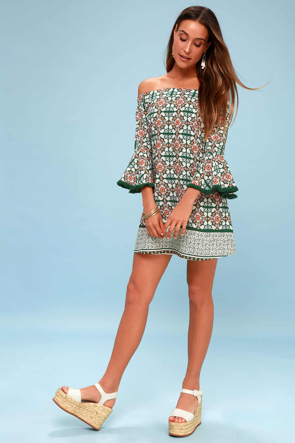 Amalfi Coast Outfits Positano Italy Dresses Green Pattern Off The Shoulder Floral Print Dress
