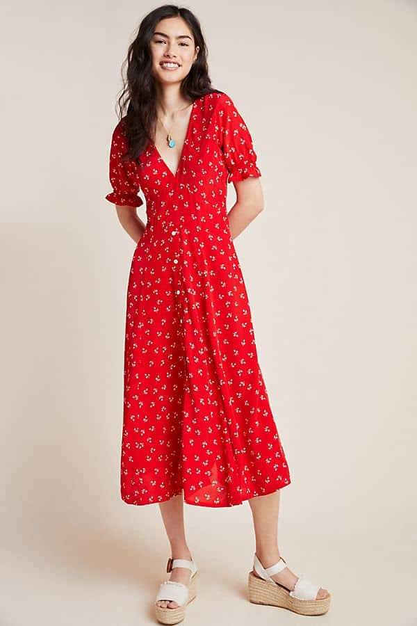 Amalfi Coast Outfits Positano Italy Dresses Vintage Inspired Red Floral Midi Dress Anthropologie