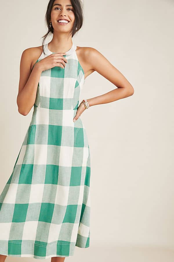 Amalfi Coast Outfits Positano Italy Gingham Dresses Green Checkered Dress Picnic Beach Getaway