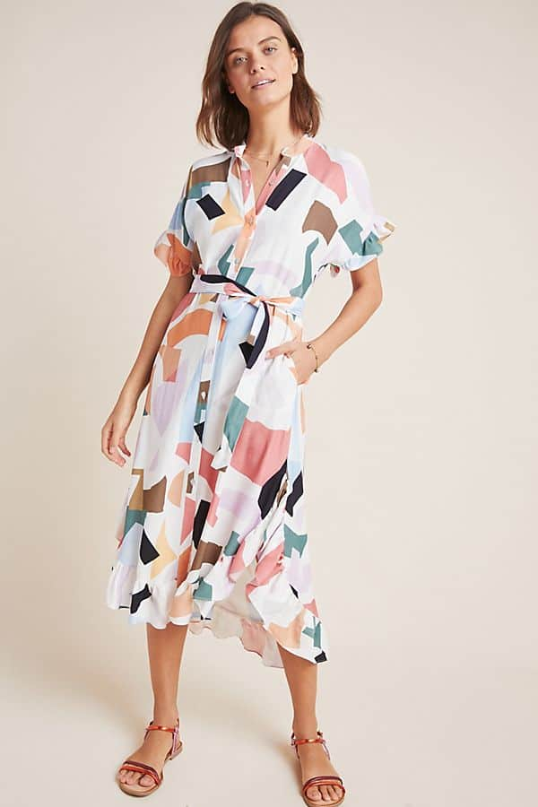 Amalfi Coast Outfits Positano Italy Shirtdresses Summer Abstract Painterly Print Dress
