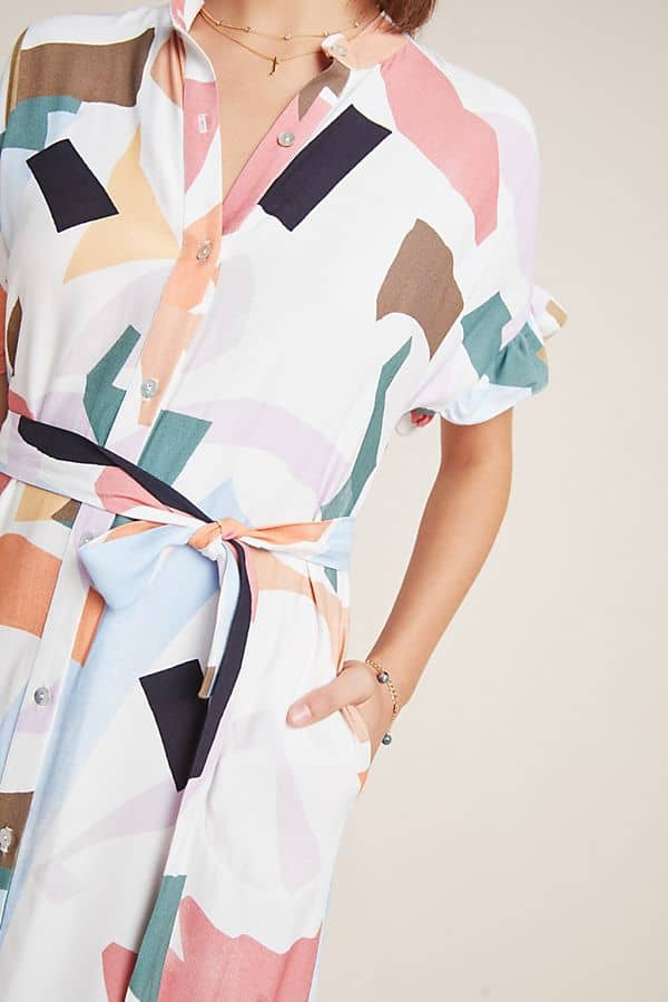 Amalfi Coast Outfits Positano Italy Shirtdresses Summer Abstract Painterly Print Dresses