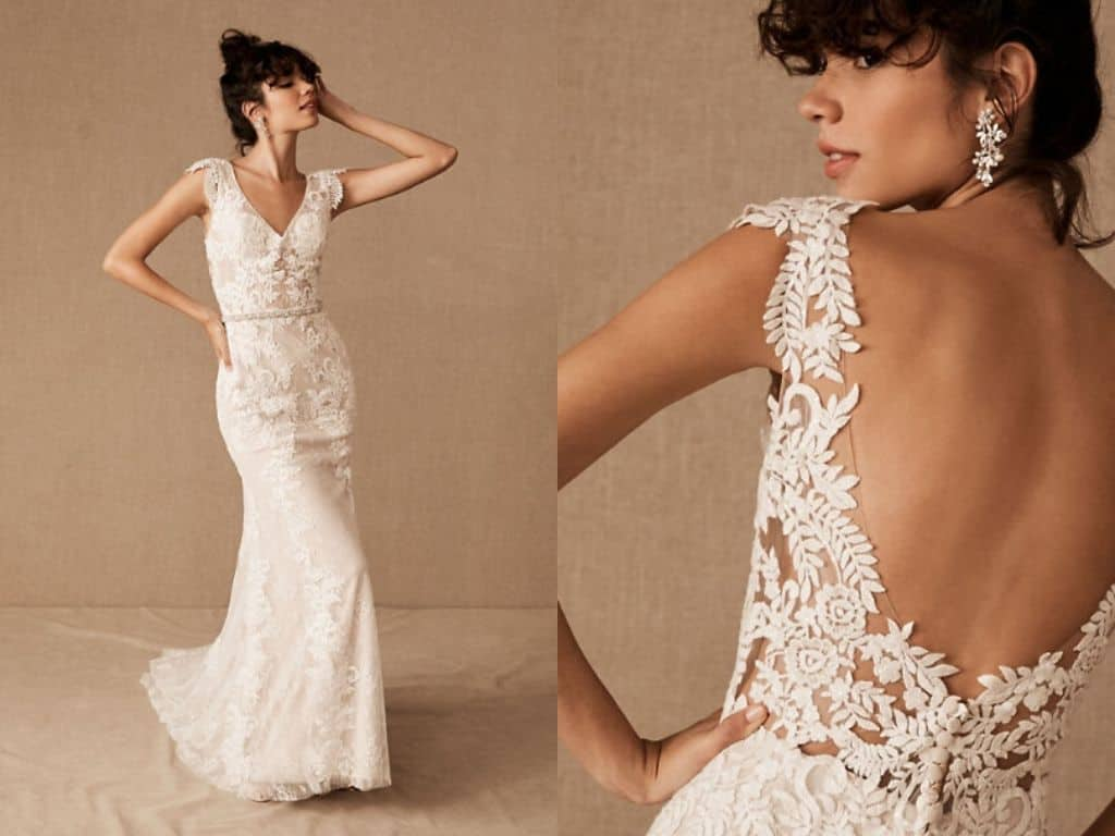 BHLDN Vintage Inspired Wedding Dresses Lace Sequin Backless Bohemian Bridal Gowns 2