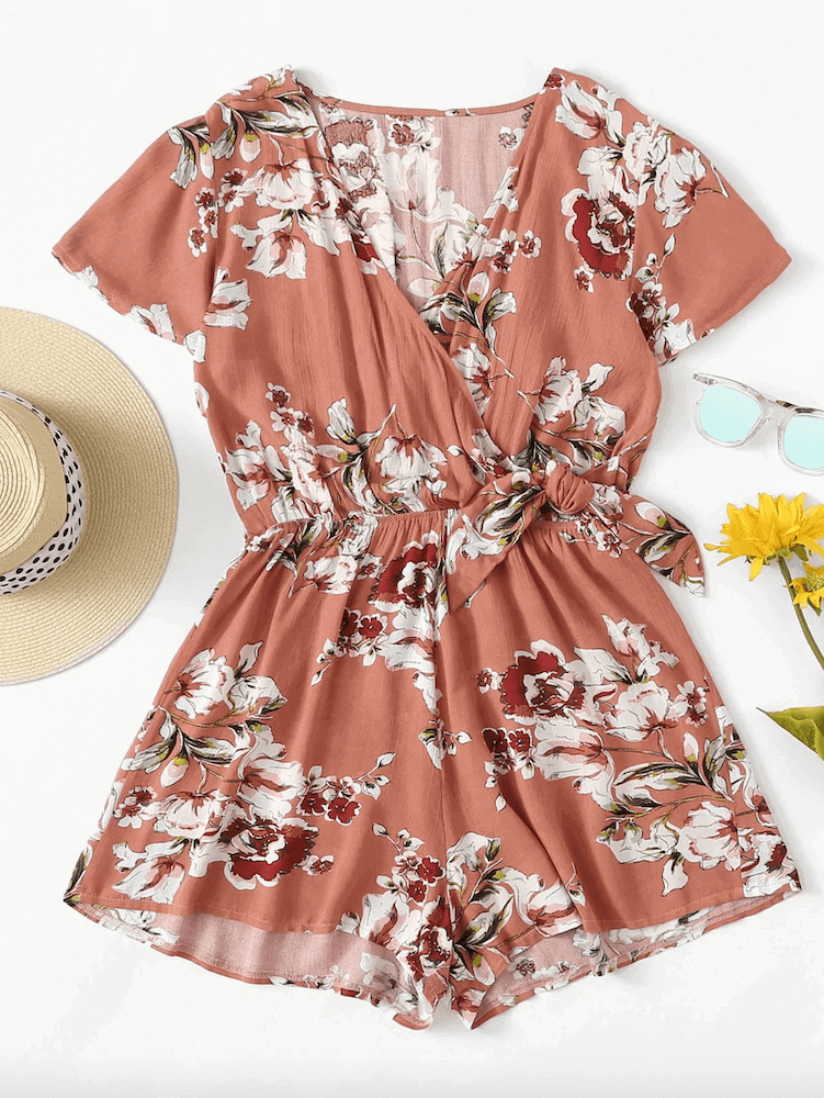 Beach Honeymoon Outfits Travel Clothes Dark Coral Knot Side Floral Romper