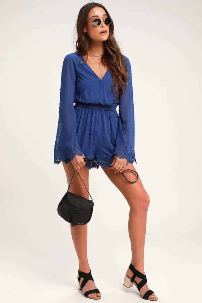 Beach Honeymoon Outfits Travel Clothes Navy Blue Dot Lace Bell Sleeve Romper 2