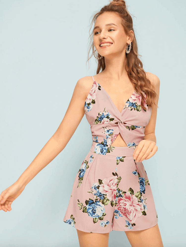 Beach Honeymoon Outfits Travel Clothes Pink Floral Print Back Bow Romper