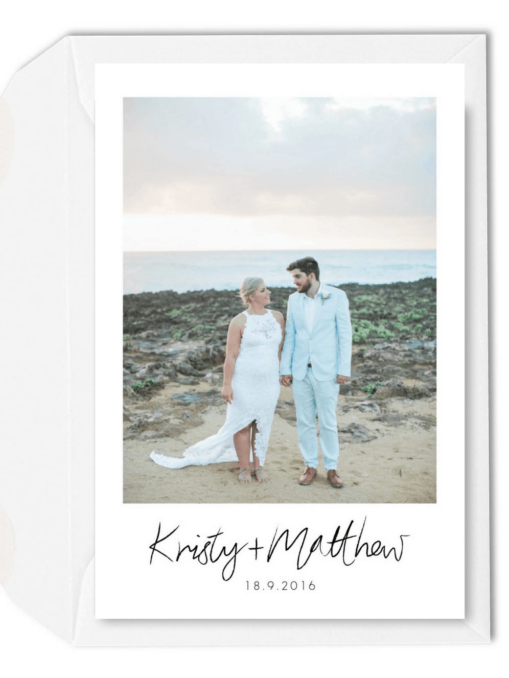 Beach Wedding Photo Thank You Card