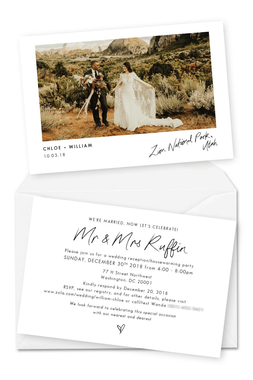 Best Elopement Announcements Wedding Invitation with Photos For the Love of Stationery