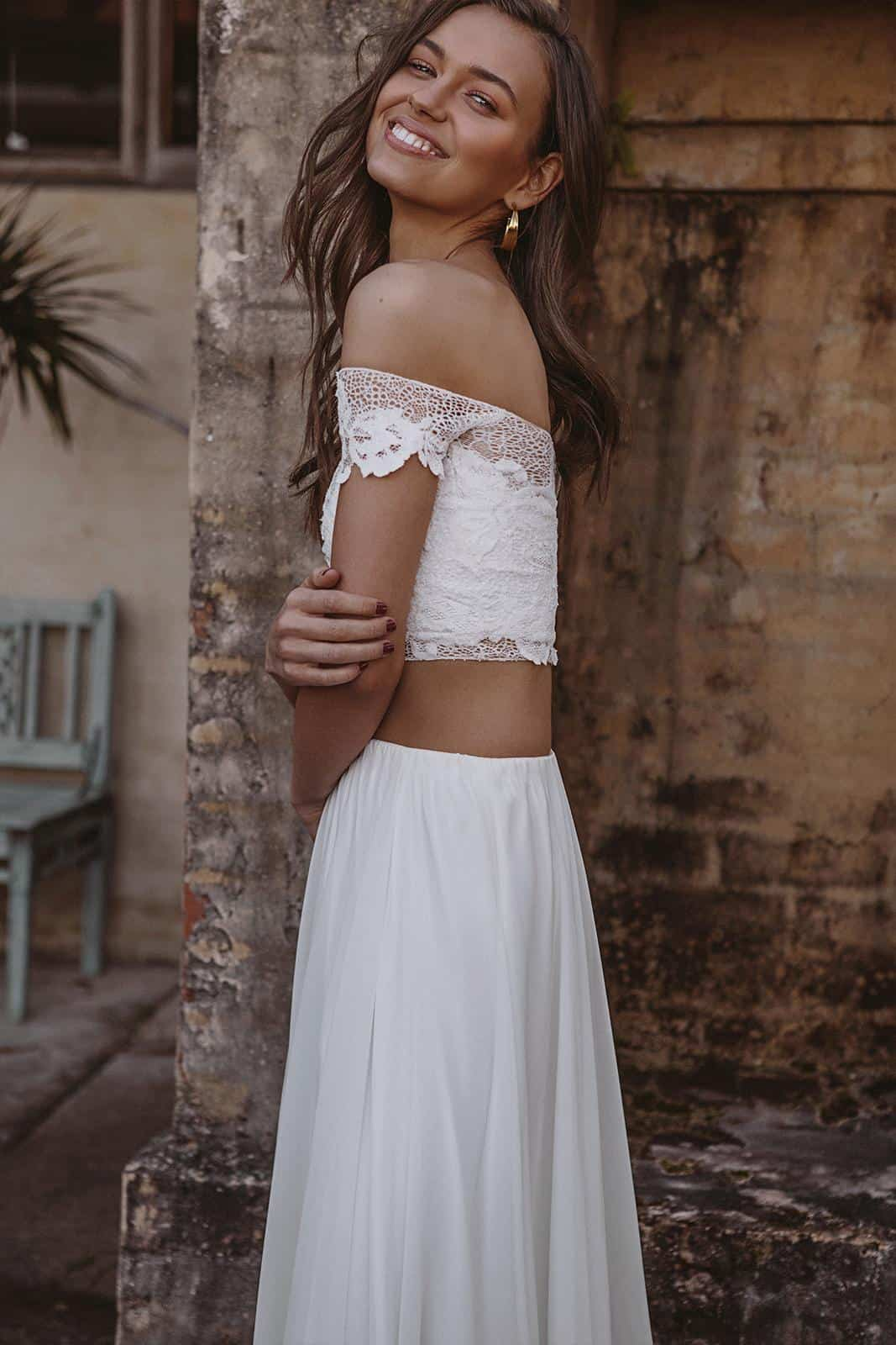 Bohemian Crop Top Silk Chiffon Skirts Wedding Dresses Inspiration French Lace Bridal Gowns Handmade by Grace Loves Lace Valeria