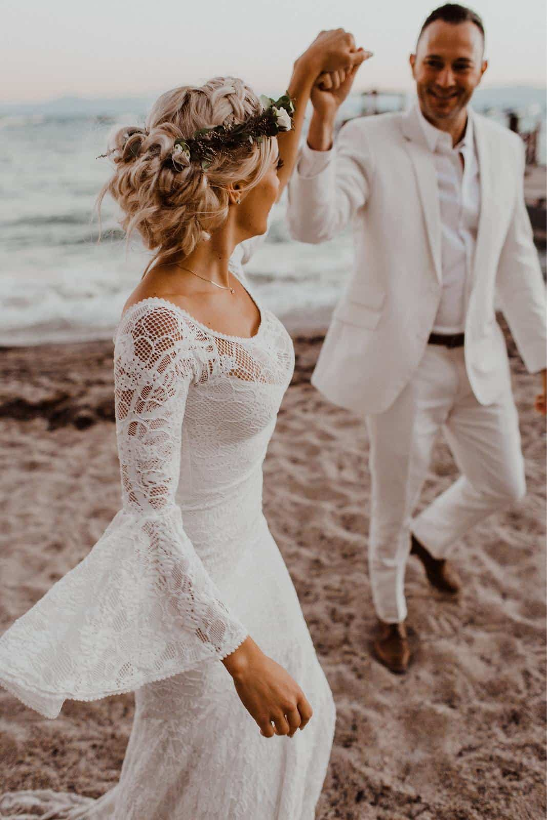 Bohemian Wedding Dress Inspiration French Lace Bridal Gowns Handmade by Grace Loves Lace Sloane