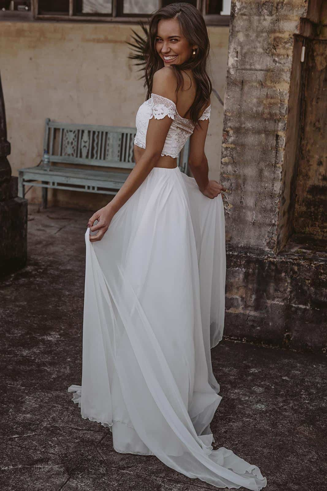 Boho Crop Top Silk Chiffon Skirt Wedding Dresses Inspiration French Lace Bridal Gowns Handmade by Grace Loves Lace Valeria
