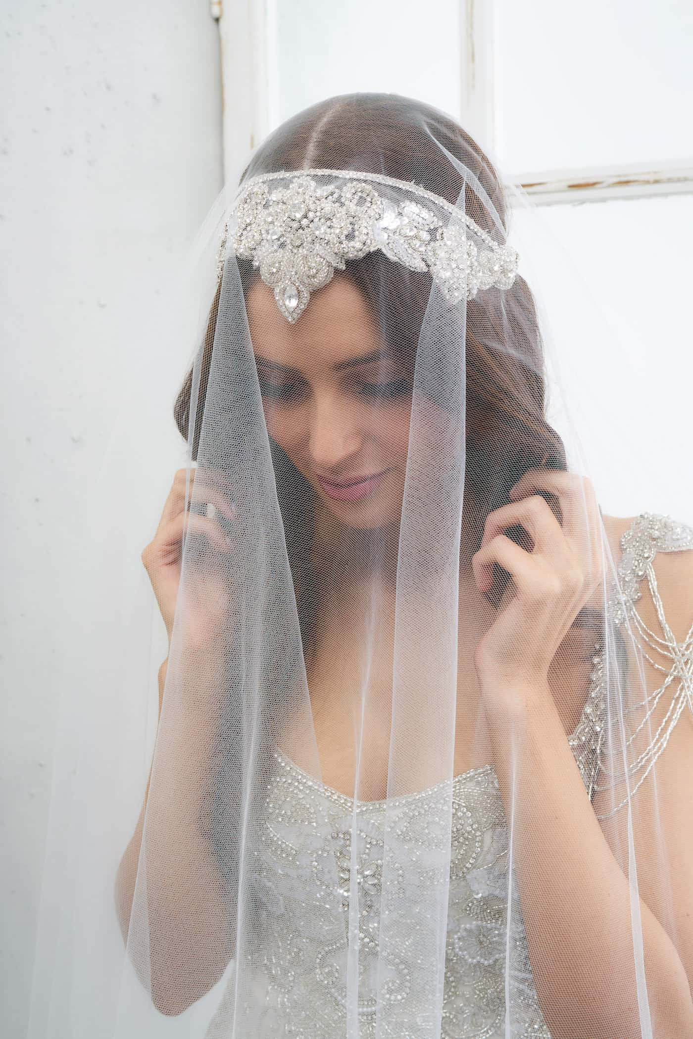 Boho Style Roman Headpieces Veil Sparkle Bridal Headpiece