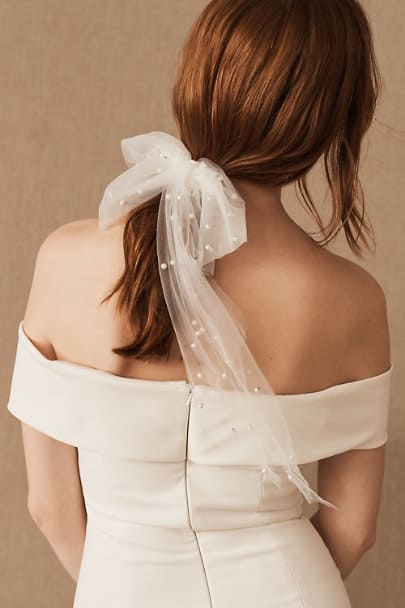 Bridal Headpiece Wedding Hair Accessories Parell Tulle Bow Barrette