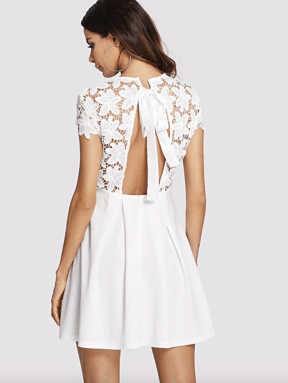 Bridal Shower Dress for the Bride White Embroidery Lace Open Back Dress