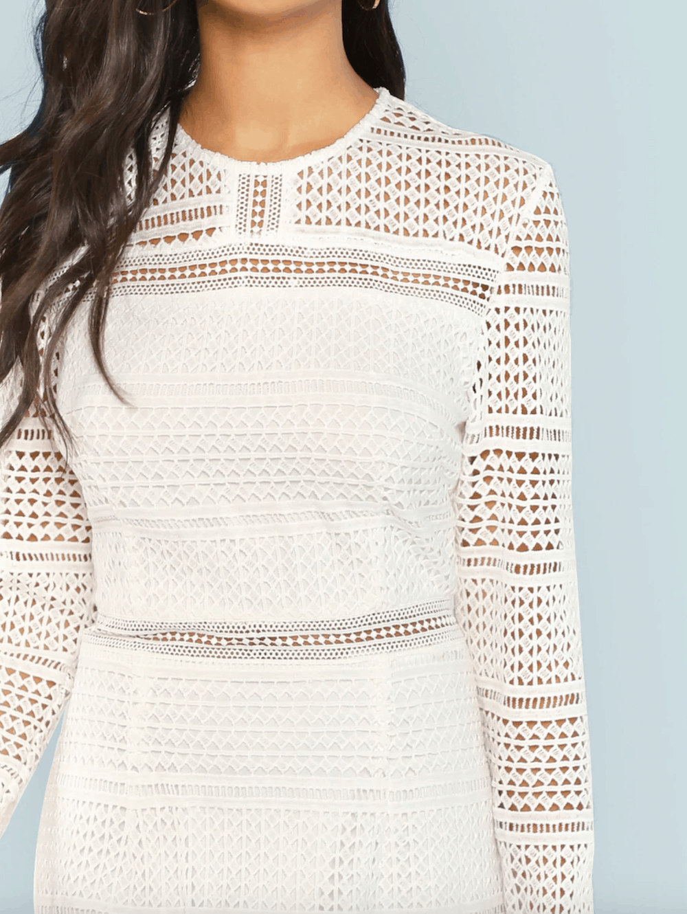 Bridal Shower Dress for the Bride White Guipure Lace Overlay Bodycon Dress 2
