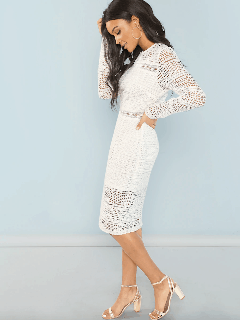 Bridal Shower Dress for the Bride White Guipure Lace Overlay Bodycon Dress