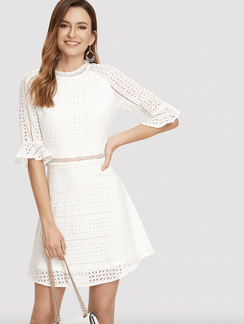bridal shower dress for the bride white ruffle cuff guipure lace overlay dress