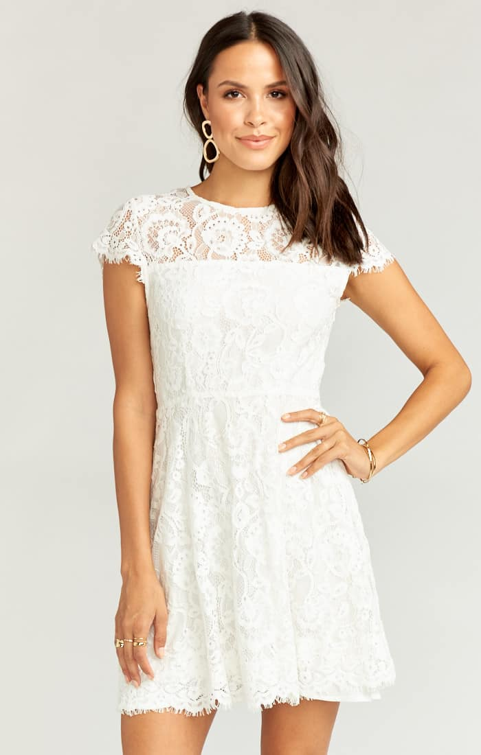 Bridal Shower Dresses and Kitchen Tea Outfits for the Bride High Neck Lace White Dress