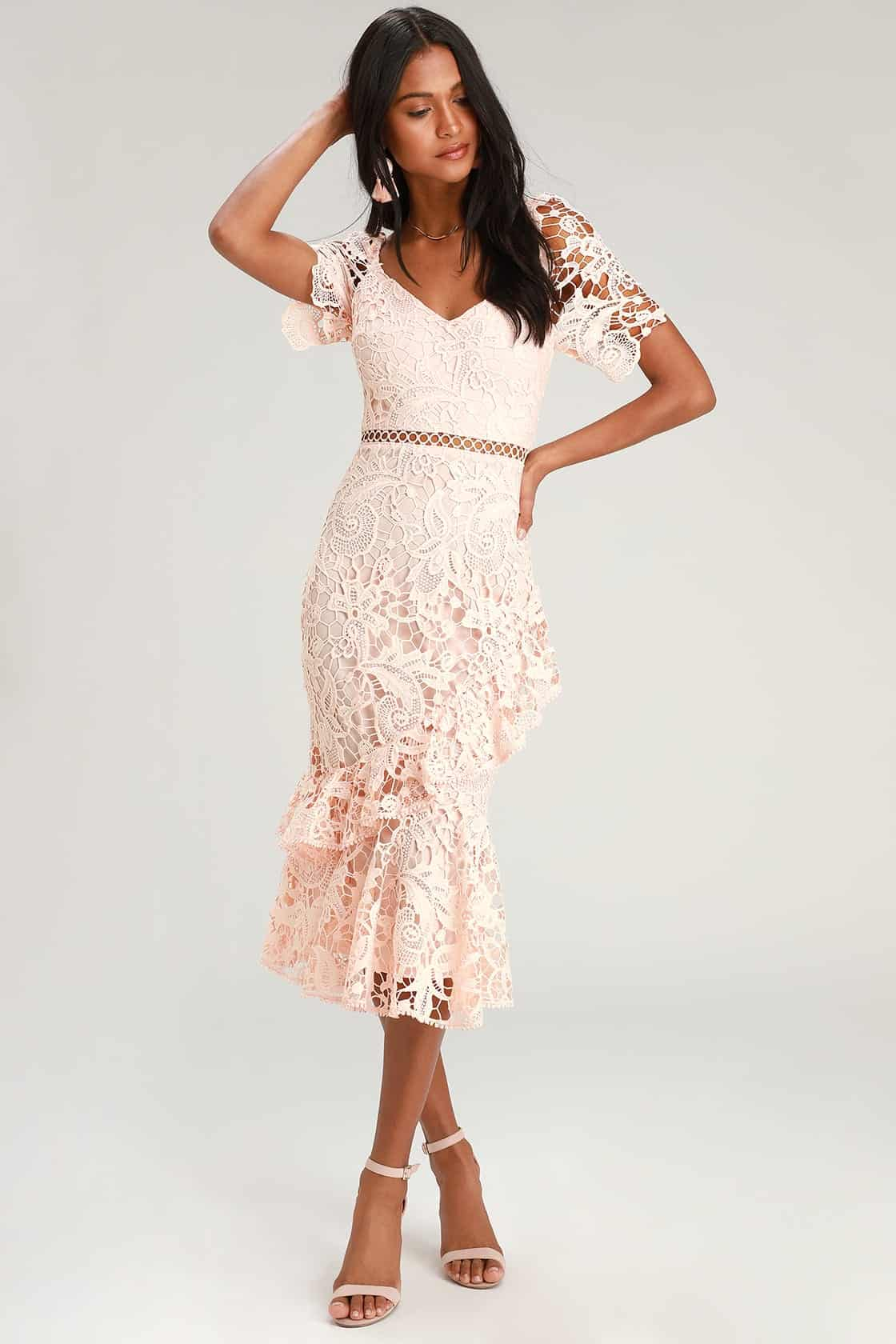 Bridal Shower Dresses For The Bride Blush Pink Lace Ruffled