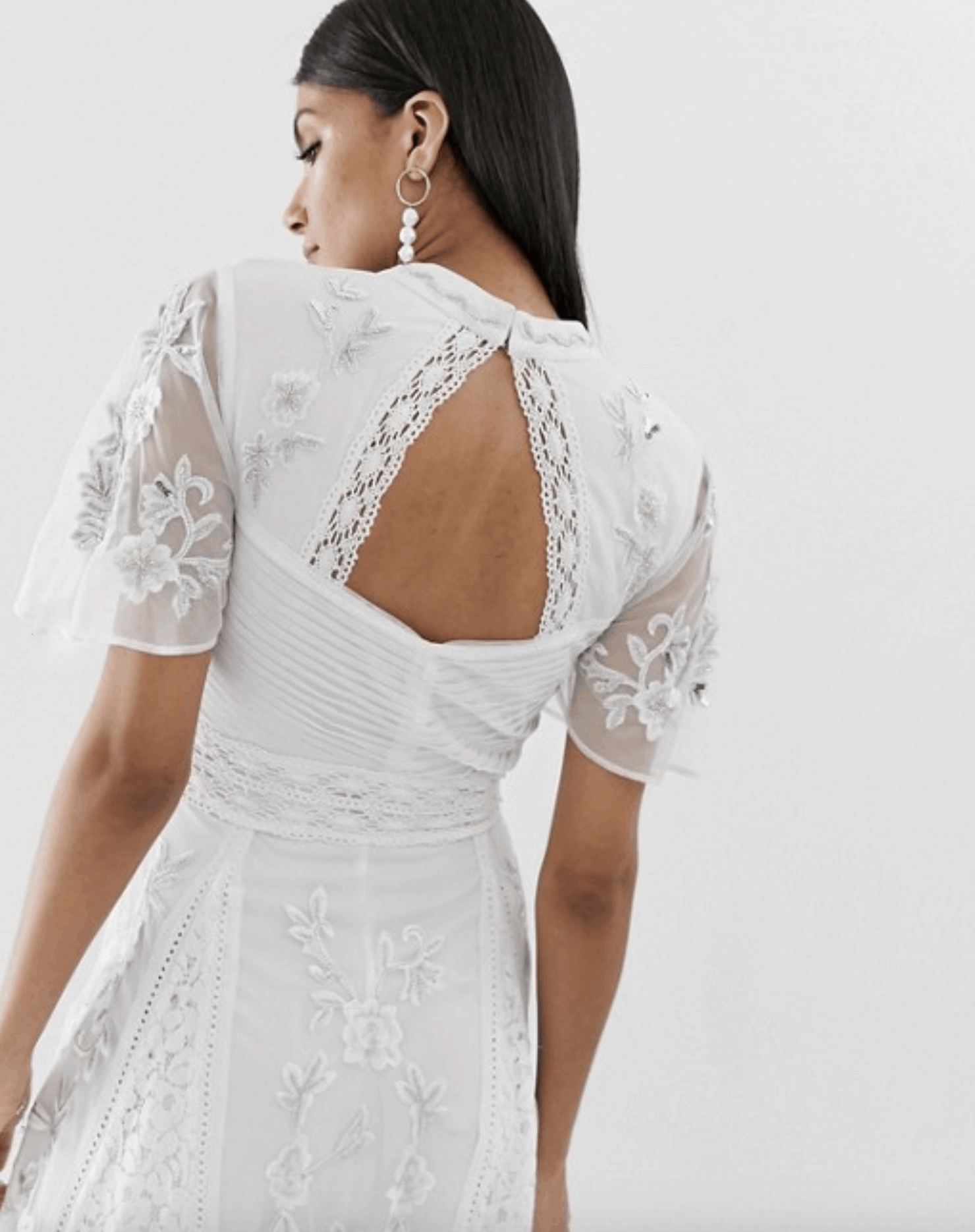 Bridal Shower Dresses for the Bride Embroidered Lace Front Open Back Maxi Dress Panel Inserts