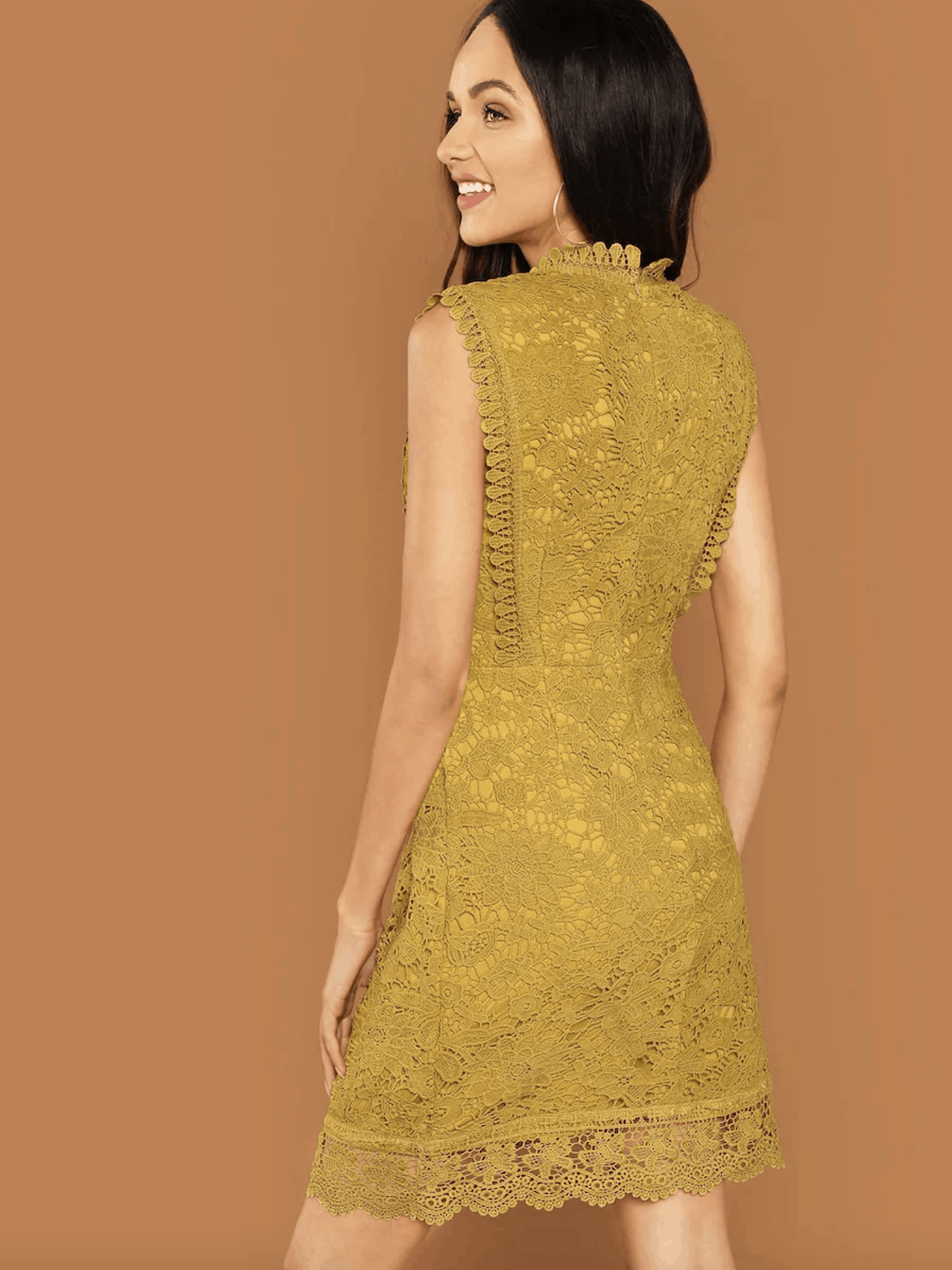 Bridal Shower Dresses for the Bride Guipure Lace Overlay Bodycon Mustard Dress 2