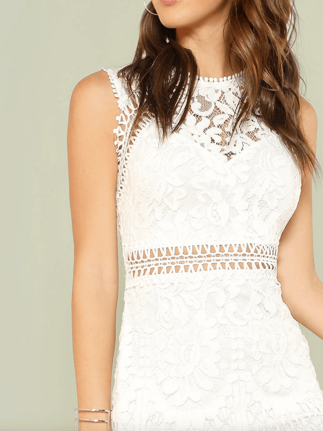 Bridal Shower Dresses for the Bride SHEIN Scalloped Hem Guipure Lace Bodycon Dress 3