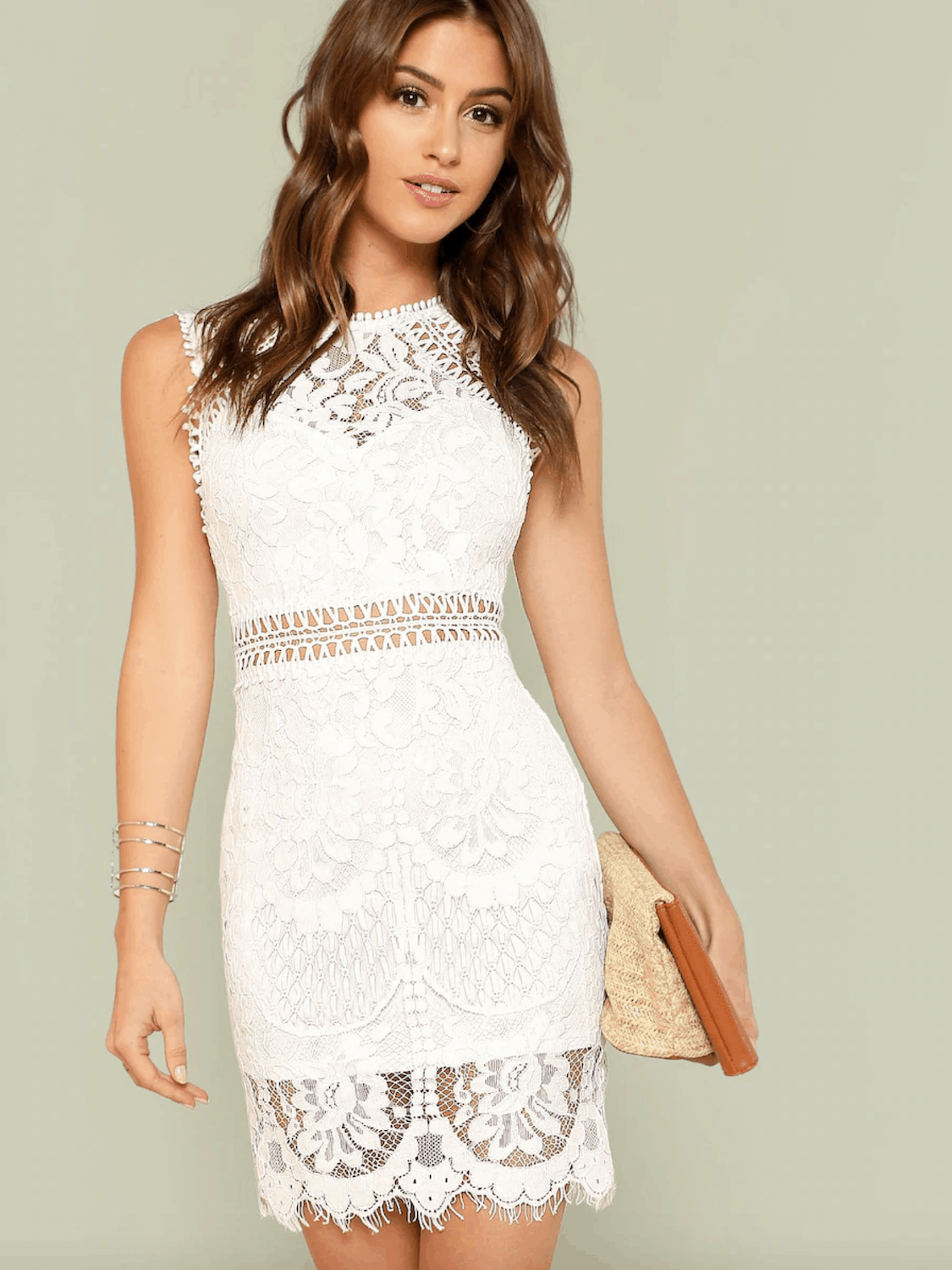Bridal Shower Dresses for the Bride SHEIN Scalloped Hem Guipure Lace Bodycon Dress