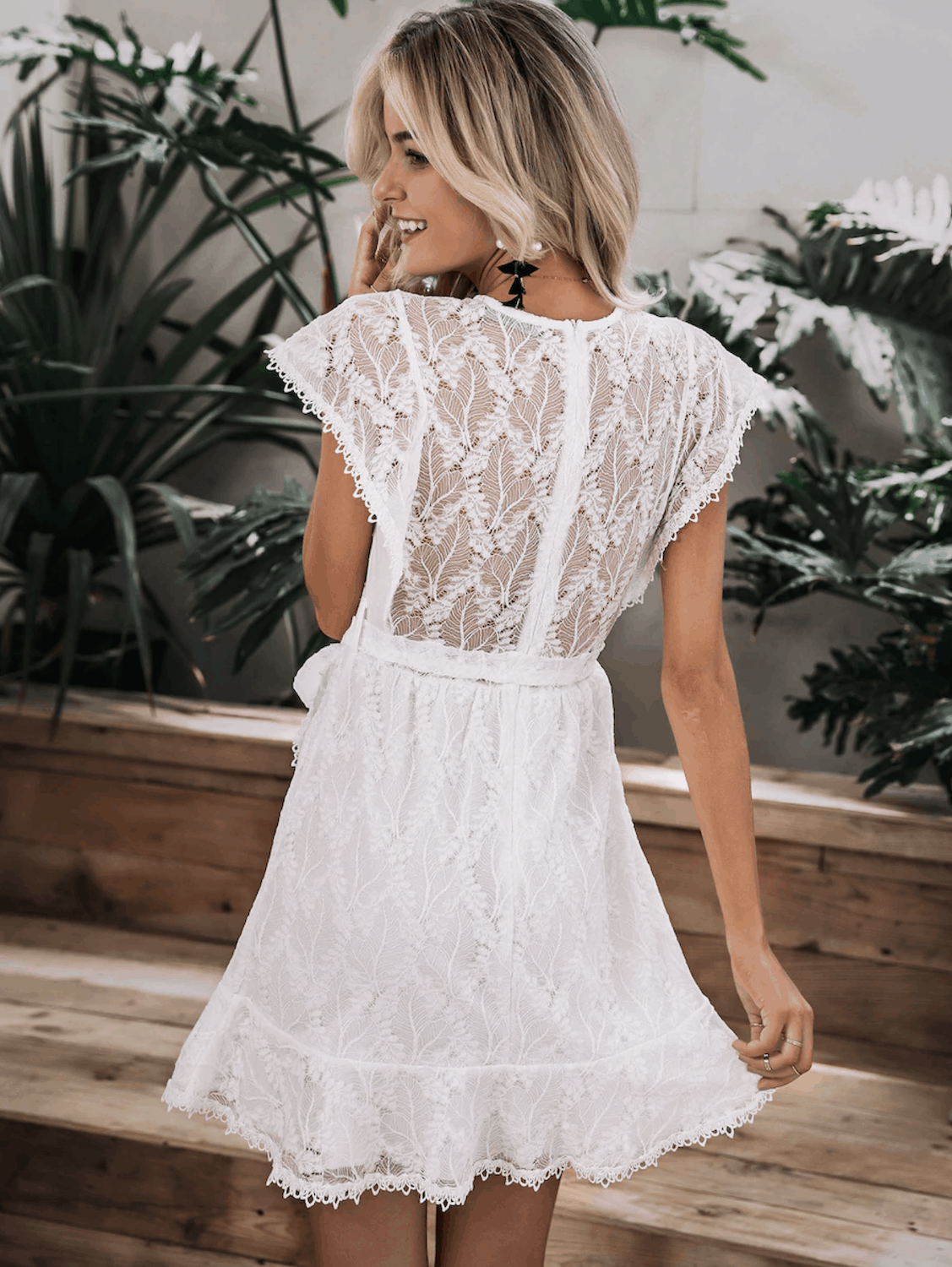 Bridal Shower Dresses for the Bride Simplee Zip Back Ruffle Hem Wrap Belted Lace Dress 2