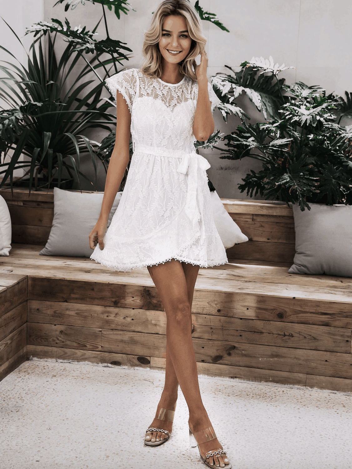 Bridal Shower Dresses for the Bride Simplee Zip Back Ruffle Hem Wrap Belted Lace Dress 3
