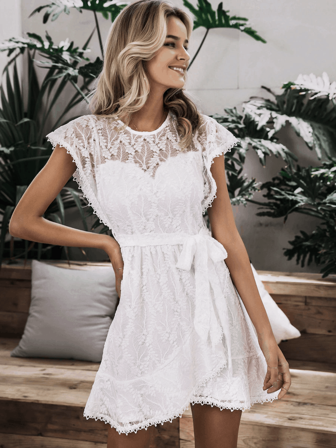 Bridal Shower Dresses for the Bride Simplee Zip Back Ruffle Hem Wrap Belted Lace Dress