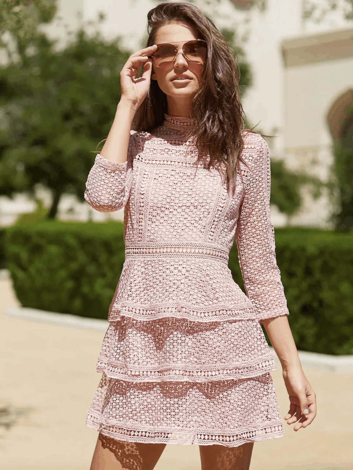 Bridal Shower Dresses for the Bride Tiered Guipure Pink Lace Dress