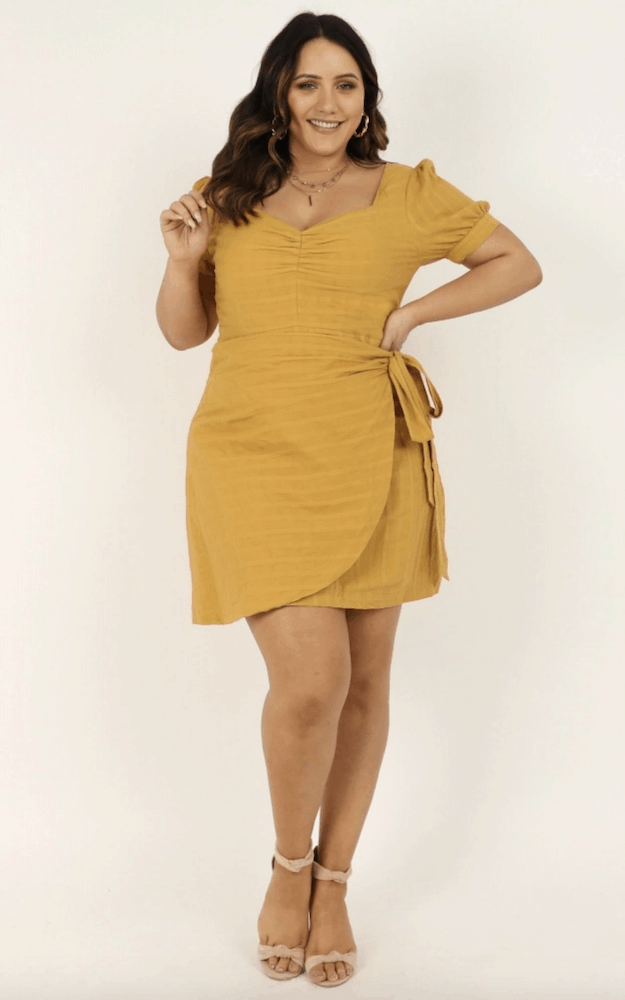 Bright Wedding Guest Dresses Mustard Wrap Dress Wedding Guest Outfits Plus Size