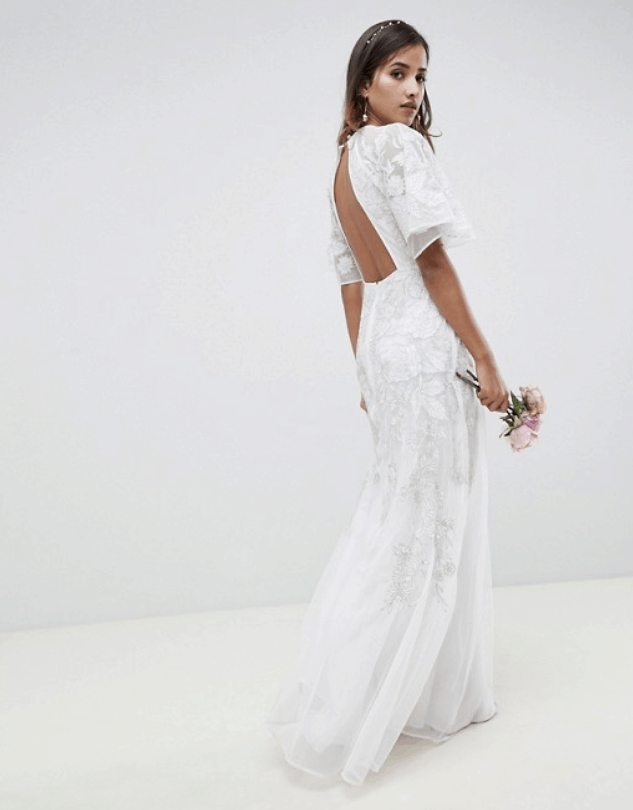 Cheap Affordable Bridal Gown and Wedding Dresses ASOS Edition Floral Applique Wedding Dress