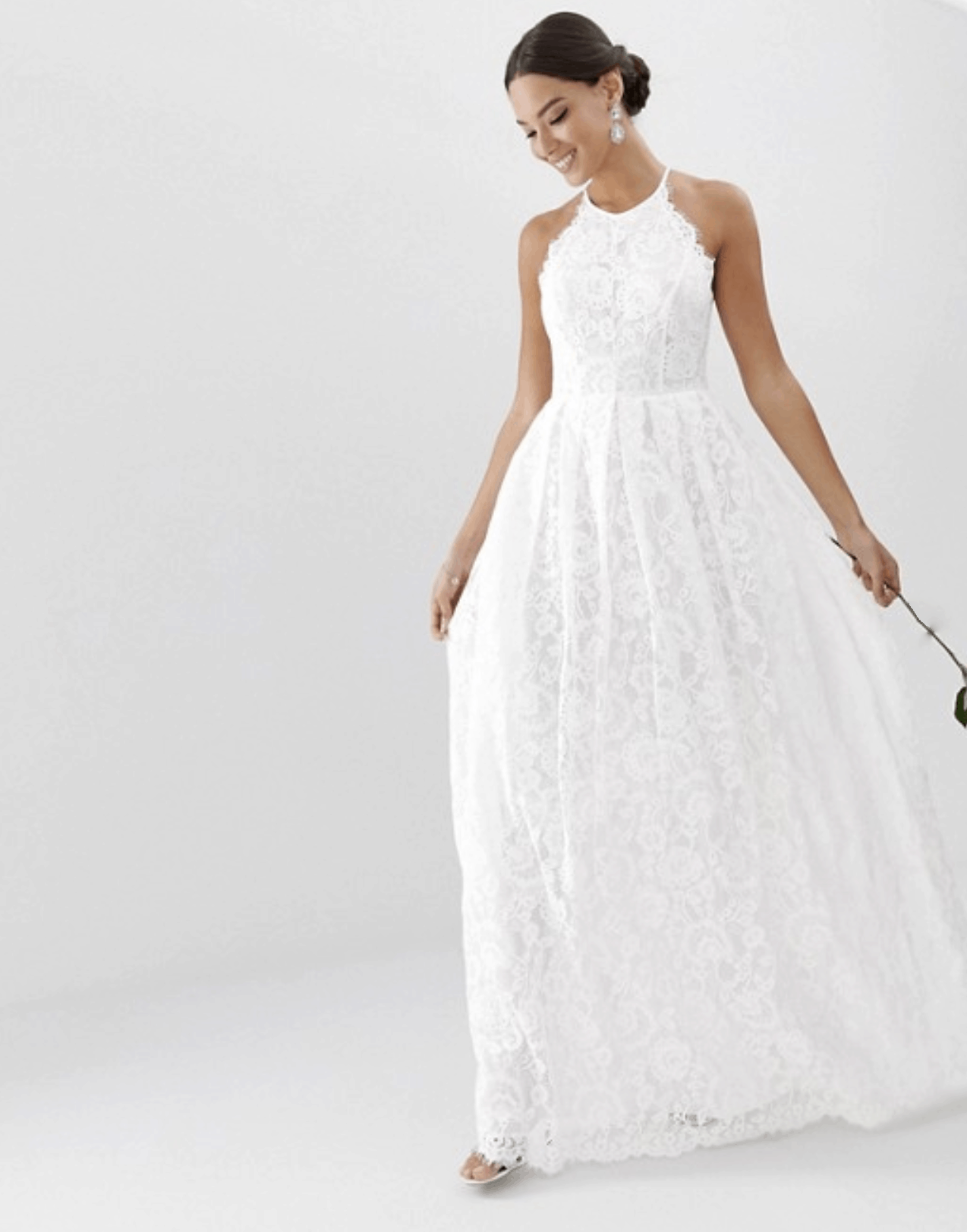 bd41d3aef430 Cheap Affordable Bridal Gown and Wedding Dresses ASOS Edition Lace Halter  Neck Maxi Wedding Dresses