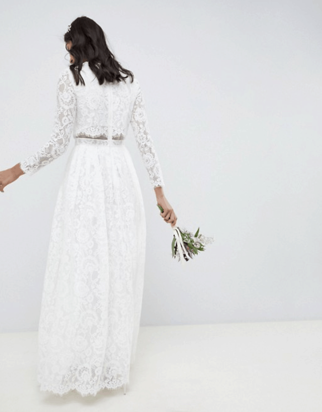 Cheap Affordable Bridal Gown and Wedding Dresses ASOS Edition Lace Long Sleeve Crop Top Maxi Wedding Dress