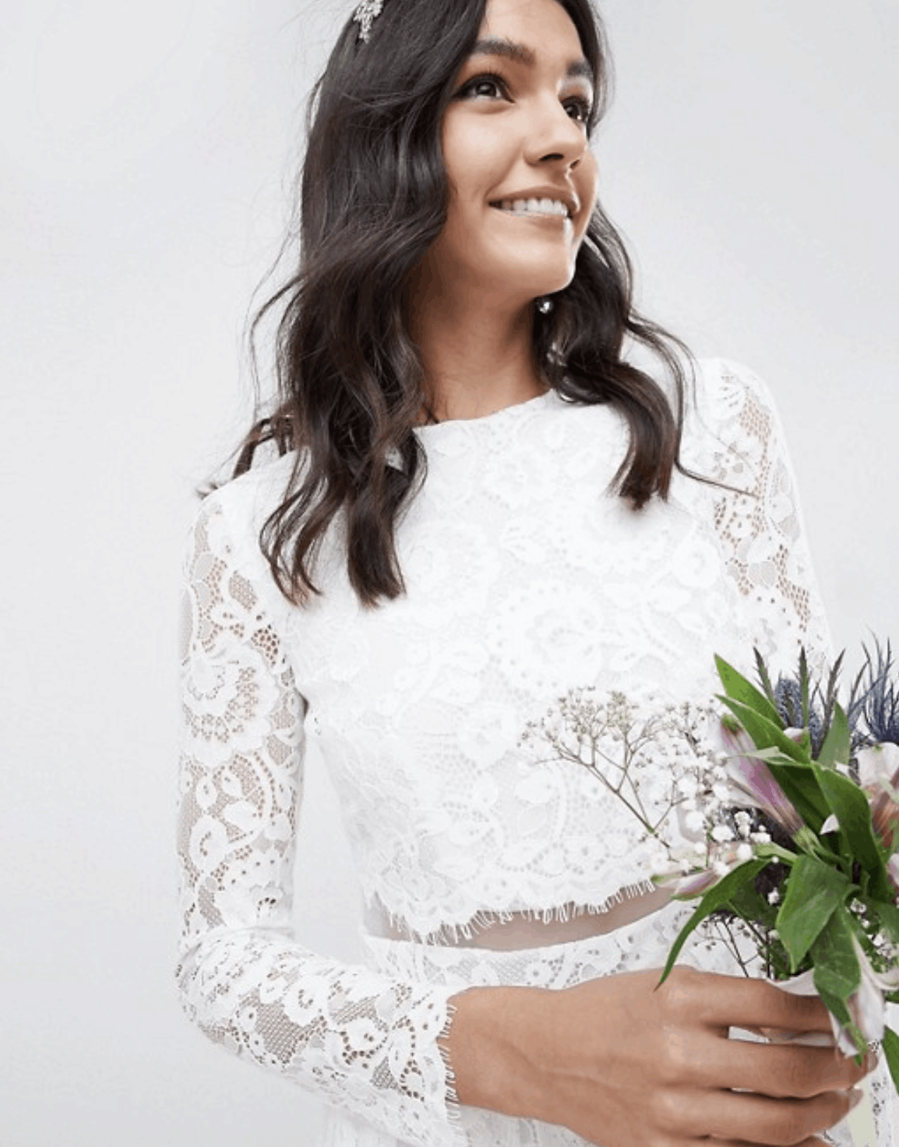 Cheap Affordable Bridal Gown and Wedding Dresses ASOS Edition Lace Long Sleeve Crop Top Maxi Wedding Dresses