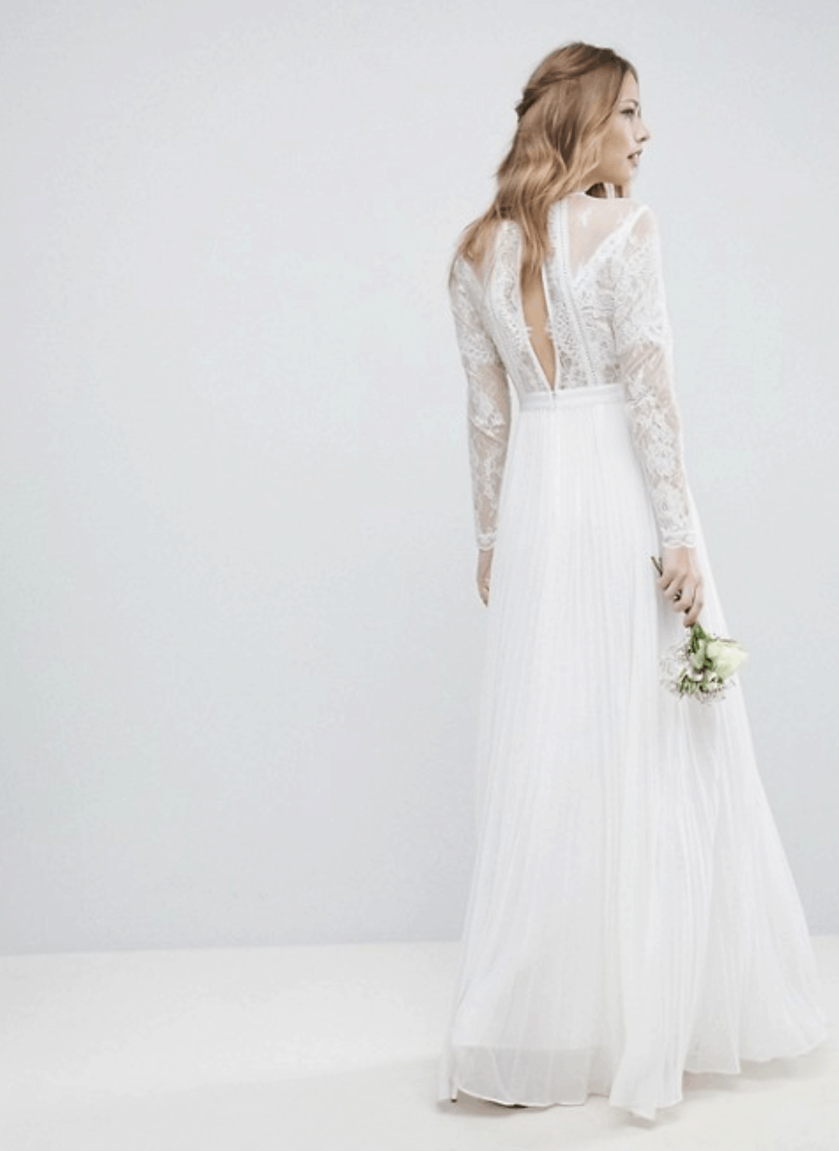 Cheap Affordable Bridal Gown and Wedding Dresses ASOS Edition Long Sleeve Lace Bodice Maxi Wedding Dress with Pleated Skirt