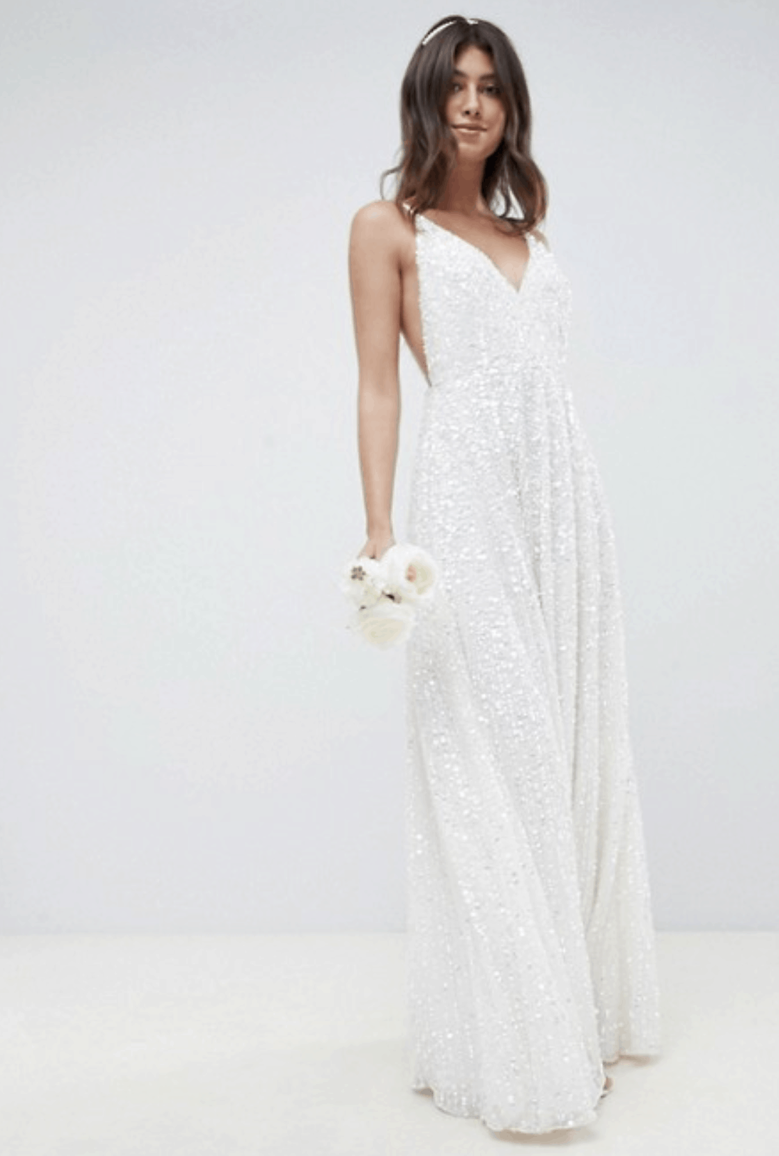 Cheap Affordable Bridal Gown and Wedding Dresses ASOS Edition Sequin Cami Wedding Dress