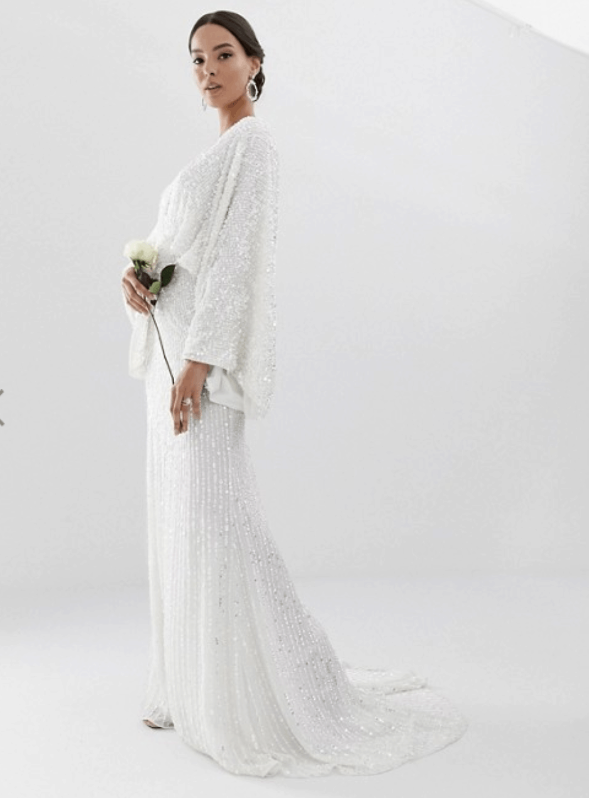 8f40c7f871cf8 Cheap Affordable Bridal Gown and Wedding Dresses ASOS Edition Sequin Kimono  Sleeve Wedding Dress
