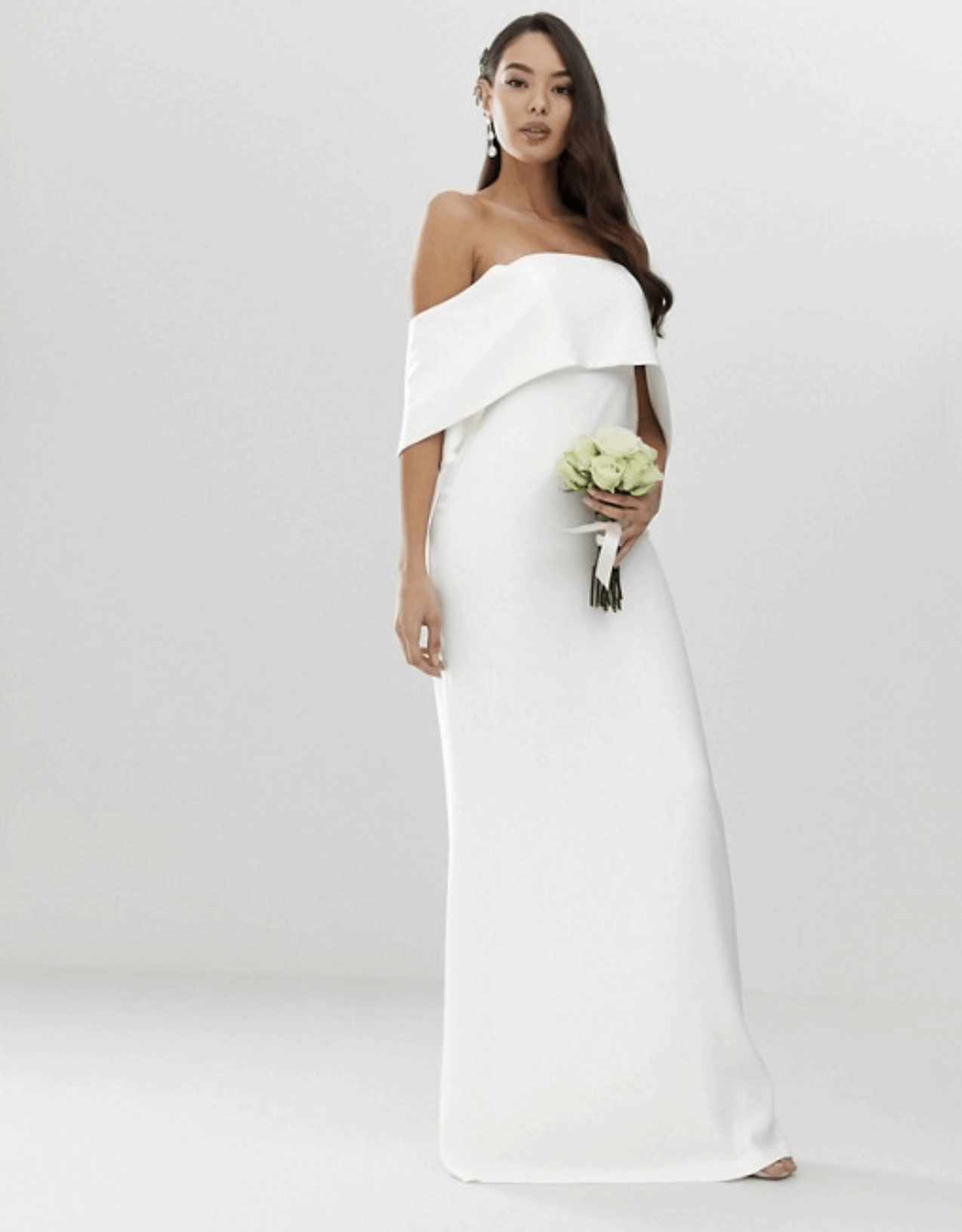 Cheap Affordable Bridal Gowns and Wedding Dress ASOS Edition Crepe Off Shoulder Wedding Column Dress
