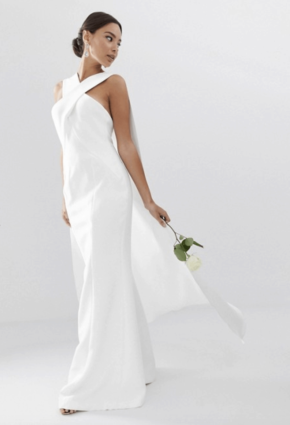 Cheap Affordable Bridal Gowns and Wedding Dress ASOS Edition Cross Front Cape Wedding Dress