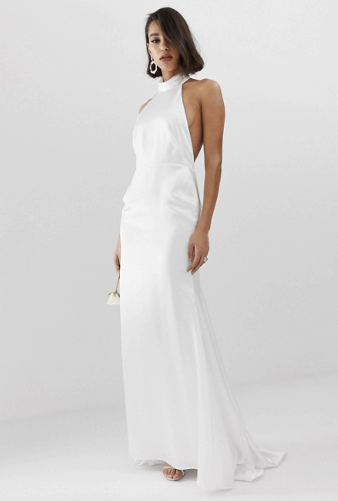 Cheap Affordable Bridal Gowns and Wedding Dress ASOS Edition Halter Backless Maxi Wedding Dress
