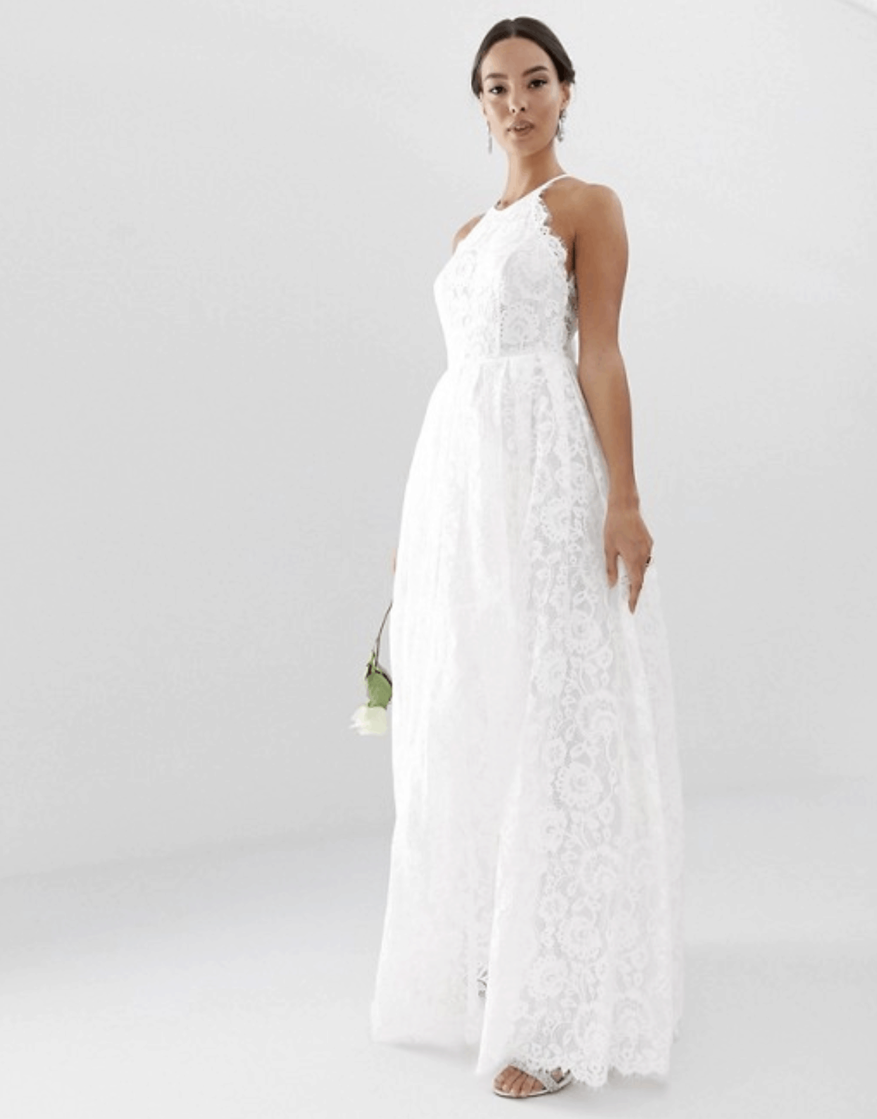Cheap Affordable Bridal Gowns and Wedding Dress ASOS Edition Lace Halter Neck Maxi Wedding Dresses